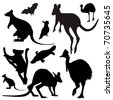 Australian animals vector silhouettes - stock vector
