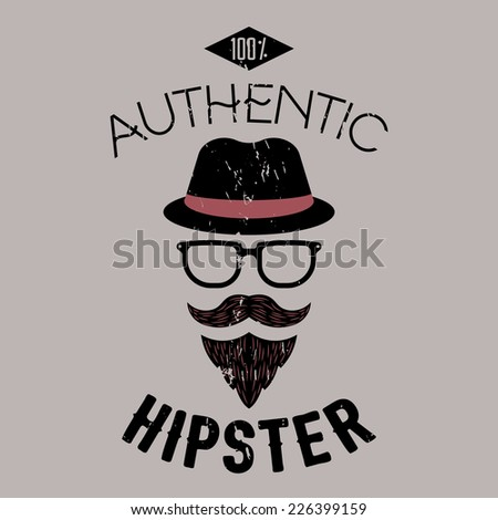 100% authentic hipster illustration. Design for advertising, labels, branding, t-shirts etc. EPS10 vector