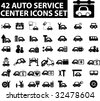 42 auto service center icons set. vector. - stock vector