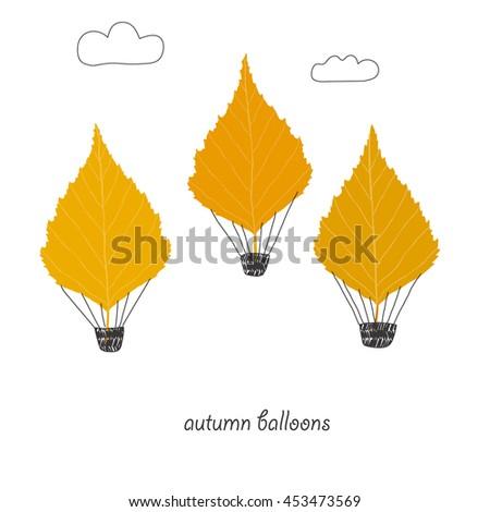 Autumn flying balloons.Lovely vector illustration. - stock vector