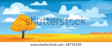 Autumn tree in yellow meadow on blue sky - stock vector