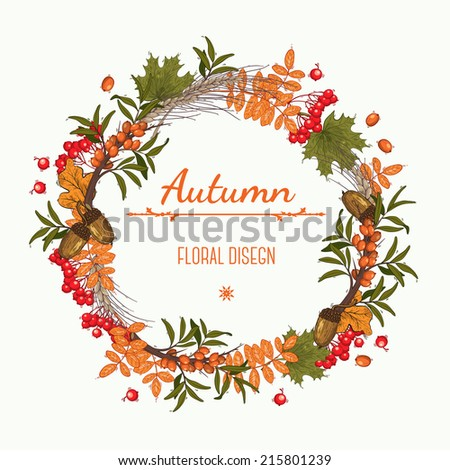 Autumn wreath of  mountain ash, buckthorn and acorns, can be used as greeting card, invitation card for wedding, birthday and other holiday. Vector illustration. - stock vector