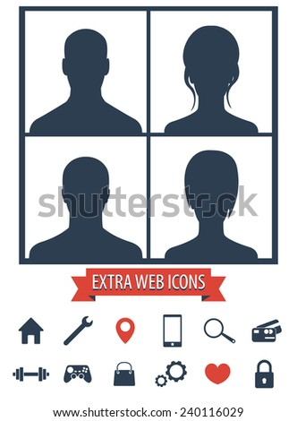 4 Avatars set and web icons vector illustration, eps10, easy to edit - stock vector