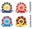 Award ribbon rosettes. National flag colors.(vector, CMYK) - stock photo