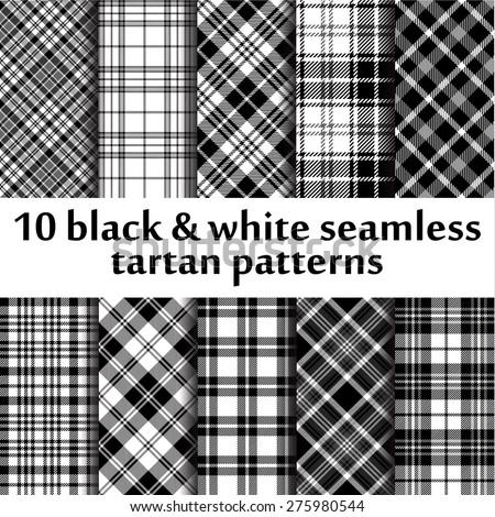 10 Bw Seamless Tartan Patterns Stock Vector 275980544
