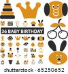 36 baby birthday signs. vector - stock vector