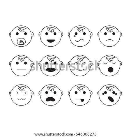 baby faces expressions related vector icons