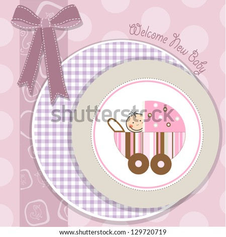 baby girl announcement card with stroller - stock vector