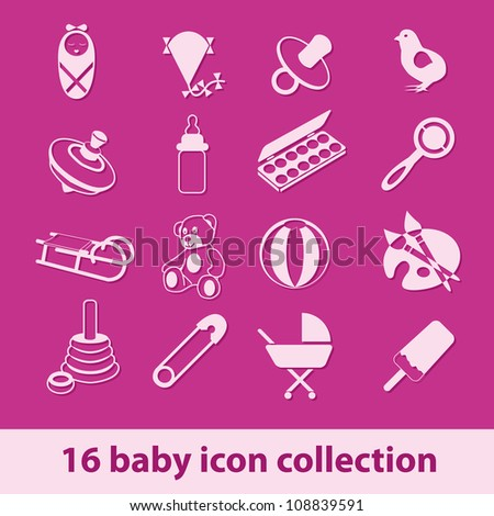 16 baby icon collection - stock vector