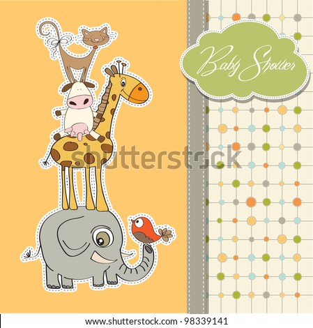 baby shower card with funny pyramid of animals - stock vector