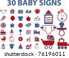 30 baby signs & icons, vector illustrations - stock vector