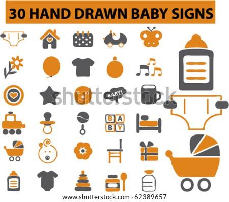12 baby toys. vector - stock vector