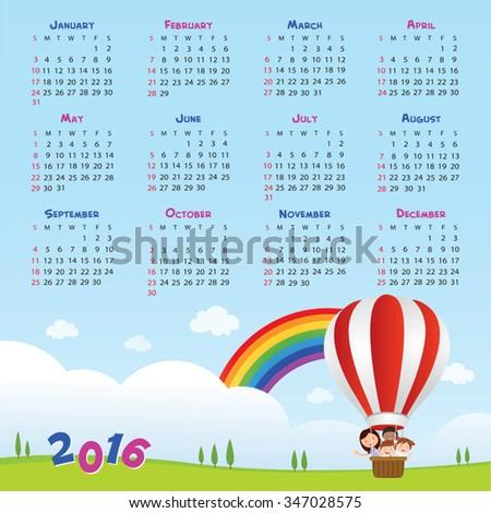2016 Back to school calendar. Vector illustration of teacher and kids riding a hot air balloon. - stock vector
