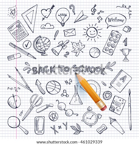 Back to school illustration. Background On Chalkboard With School Icon Elements.  School Items With Colored Pencils.  Vector Illustration