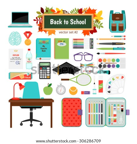 """Back to school"" vector set: desk, chair, computer, tutorial, medal, leaves, backpack, tennis, calculator, pen, pencil, watercolor, markers"