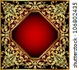 background frame red with gold(en) pattern - stock vector