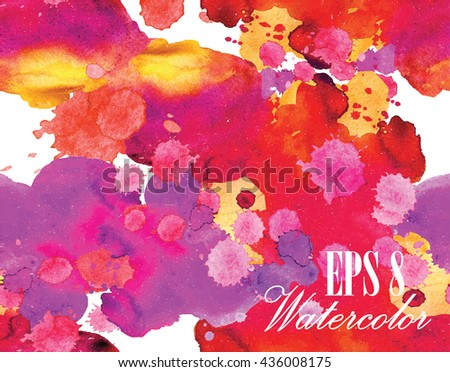 Background in grunge style with stains watercolor paint. The texture of the paper . Spray paint drops . - stock vector