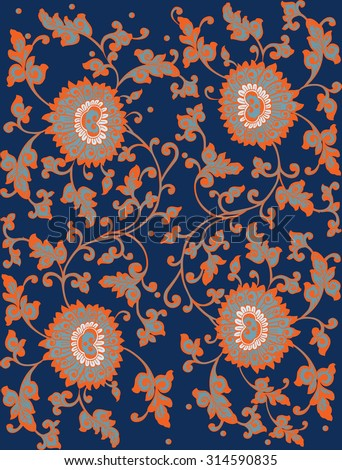 Background in the style of Chinese painting on porcelain. Vector illustration. - stock vector