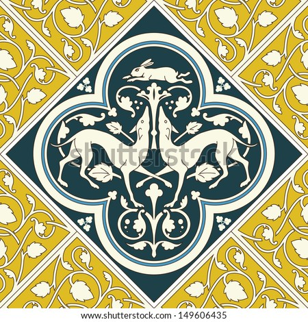 Background tile ornament inspired by a real tile floor in Sainte-Chapelle The Holy Chapel, Paris - stock vector