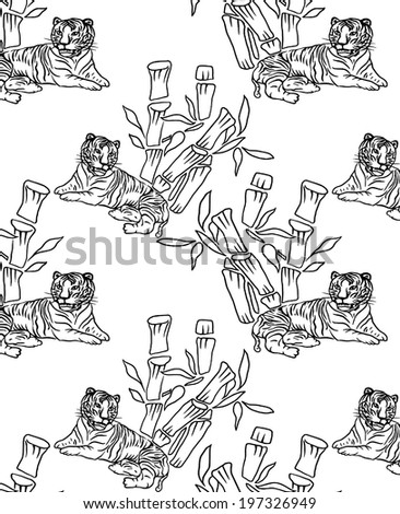 background vector of line.Tiger with Bamboo.