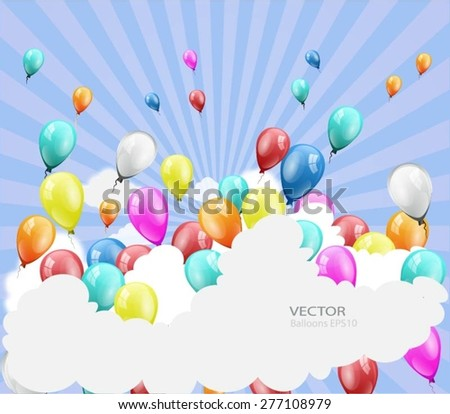background with balloons with place for text - stock vector