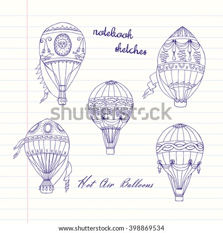 background with hot air balloons hand drawn sketches vector illustration