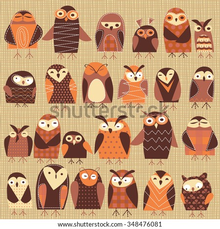 background with owls - stock vector