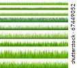 9 Backgrounds Of Green Grass, Isolated On White Background, Vector Illustration - stock photo