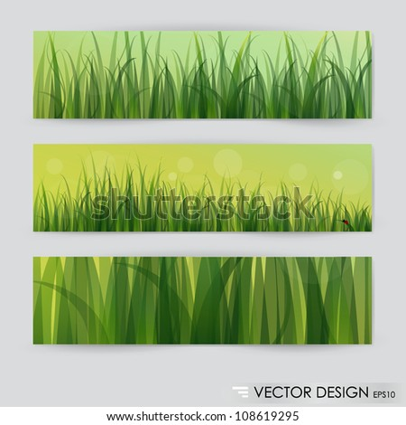 3 backgrounds of green grass. Vector illustration.