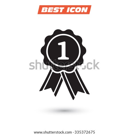 badge with ribbons icon. Vector  Eps 10  - stock vector
