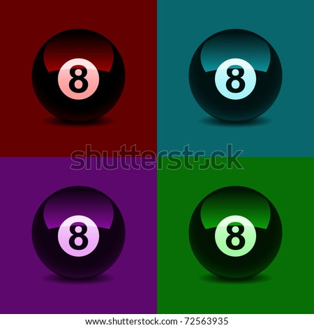 8 ball, colored abstract baсkground. Vector illustration.