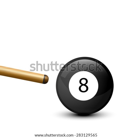 8 Ball from pool or billiards on a white background - stock vector