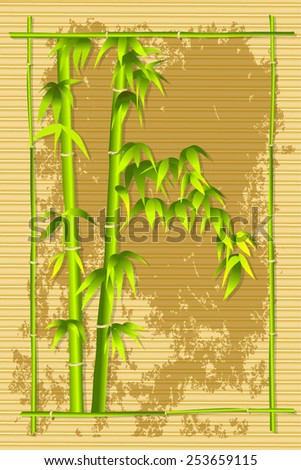 Bamboo and bamboo frame on mat background  - stock vector