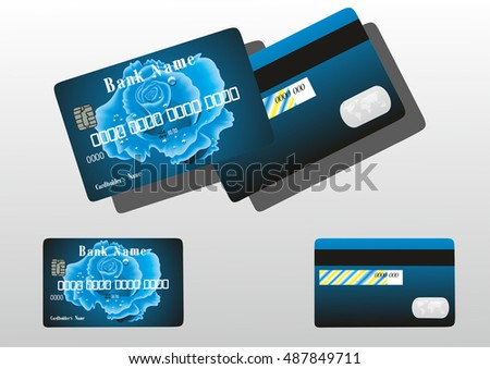 bank card with a blue flower.vector illustration.