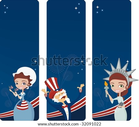 3 banners for the 4Th July - stock vector