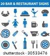 20 bar & restaurant icons.vector - stock vector
