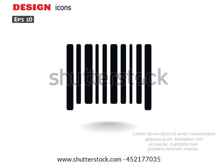 Barcode icon flat - stock vector