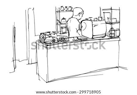 barista behind the bar in a cafe interior  - stock vector