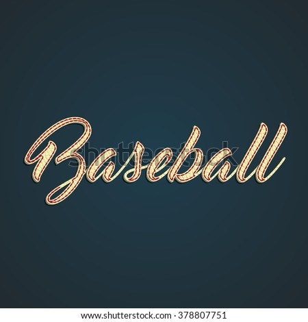 'Baseball' label made by leather, vector illustration - stock vector