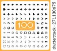 100 Basic arrow sign icons set.Illustrator eps10 - stock vector