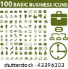 100 basic business icons. vector - stock vector
