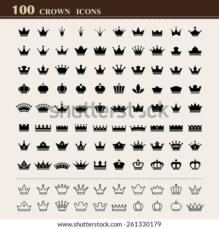 100 basic Crown icons set . Illustration eps10 - stock vector