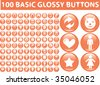 100 basic glossy buttons. orange. vector - stock vector