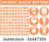100 basic glossy buttons. vector - stock vector