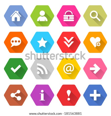 16 basic icon long shadow set 05. White sign on colored rounded hexagon web button on white background. Simple minimalistic flat style. Vector illustration internet design graphic element 10 eps - stock vector