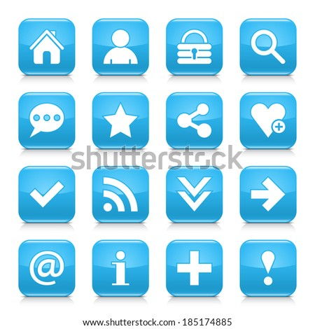 16 basic icon set 05. White sign on blue rounded square button with gray reflection, black shadow on white background. Glossy style. Vector illustration web design element in 8 eps - stock vector