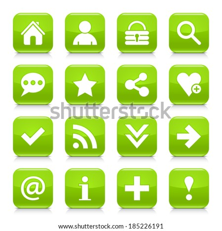 16 basic icon set 05. White sign on green rounded square button with gray reflection, black shadow on white background. Glossy style. Vector illustration web design element in 8 eps - stock vector
