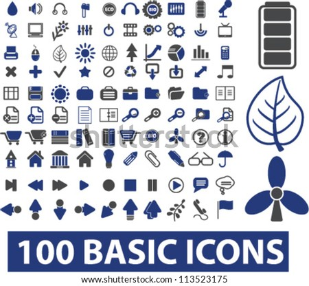 100 basic icons set, vector - stock vector