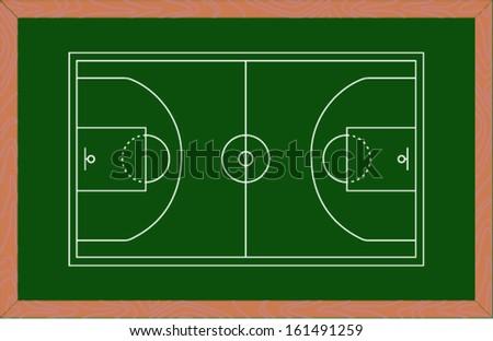 basketball court on green board. Vector illustration  - stock vector