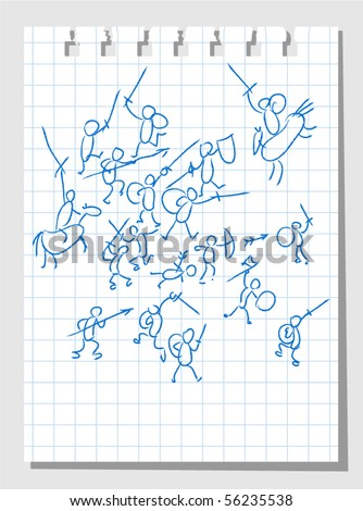 Battling Knights - stock vector